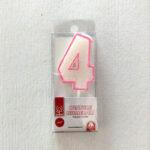 candela numero 4 rosa